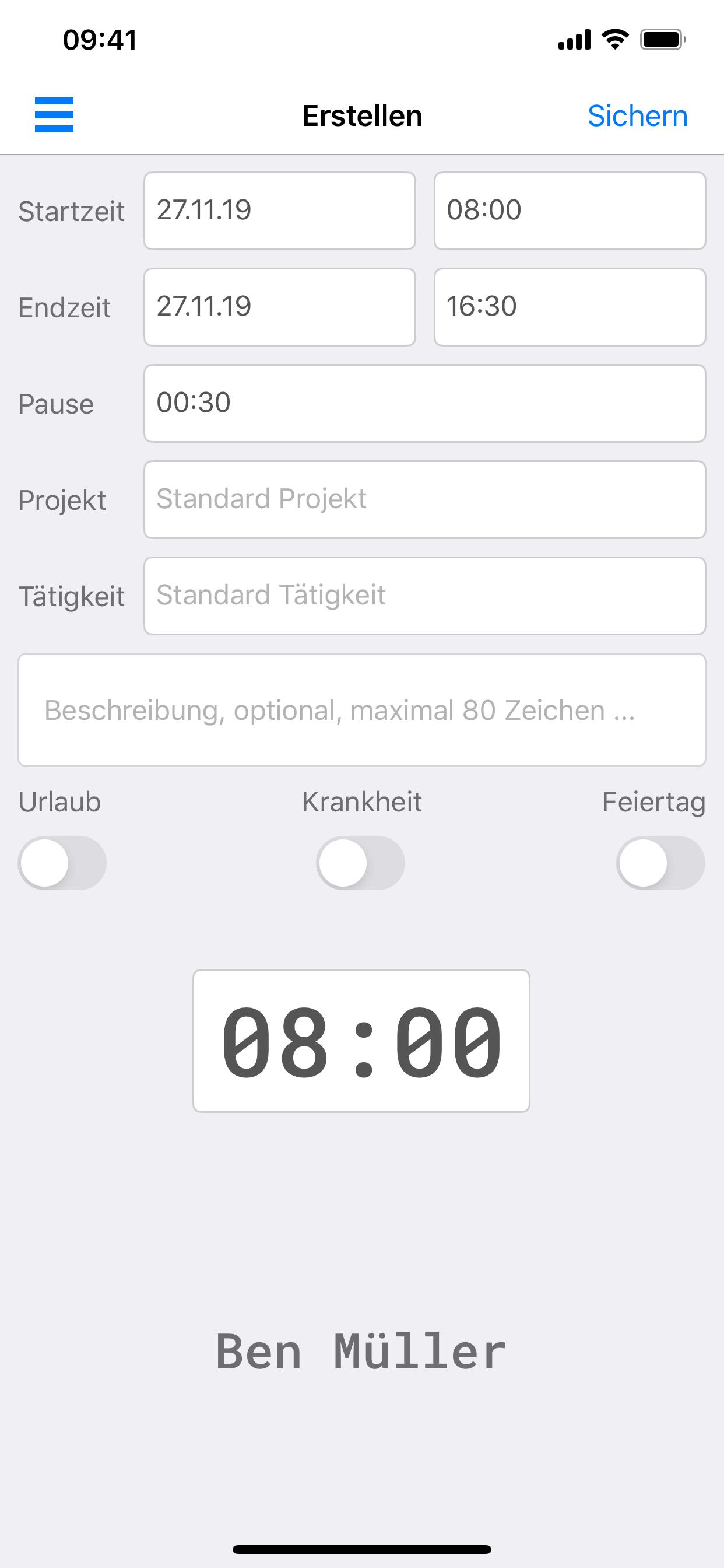 Eomagis Zeiterfassung iPhone App
